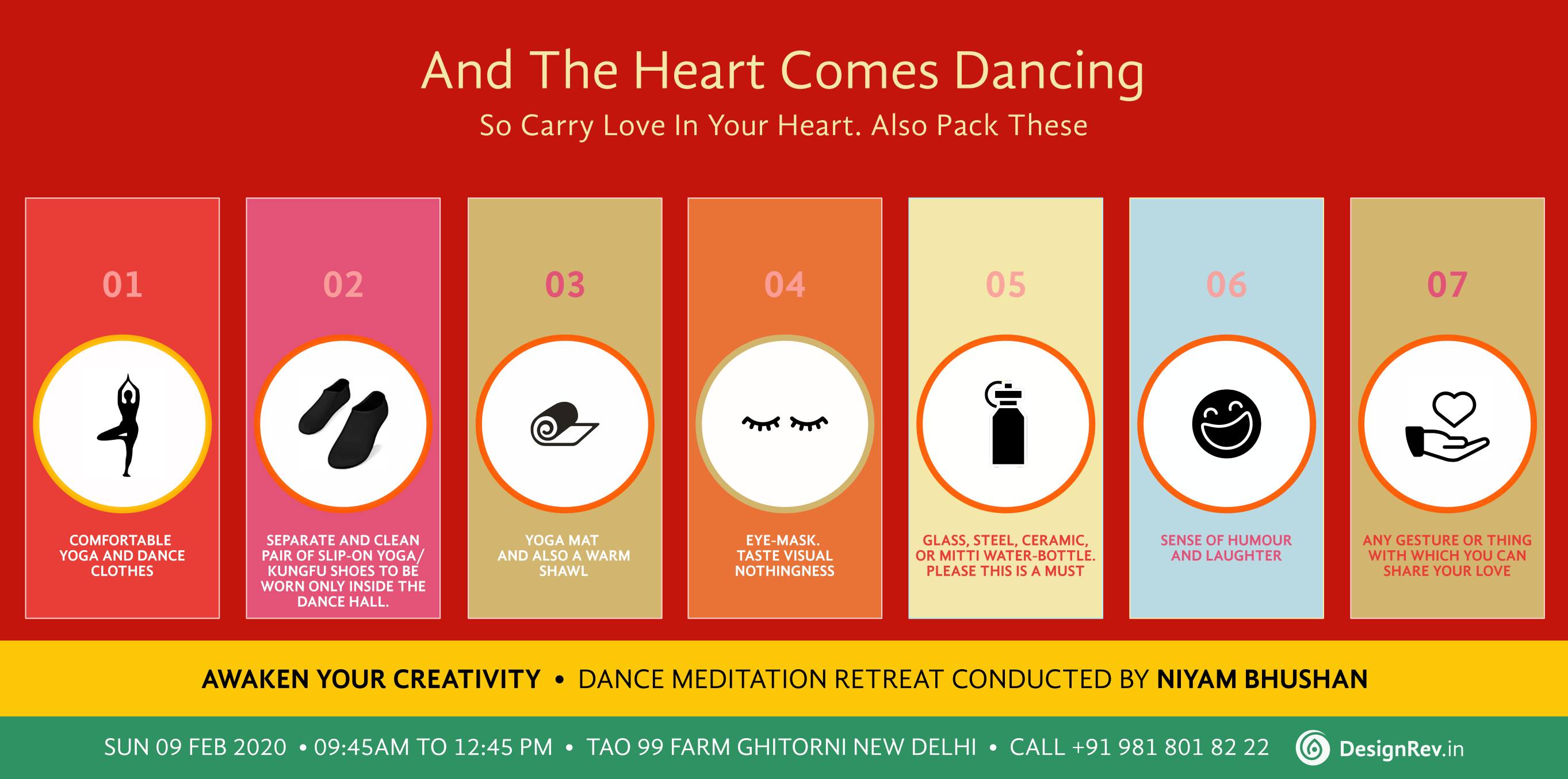 Heart Comes Dancing. What to pack for 'Awaken Your Creatvitiy' meditation conducted by Niyam Bhushan, 09 Feb 2020, New Delhi